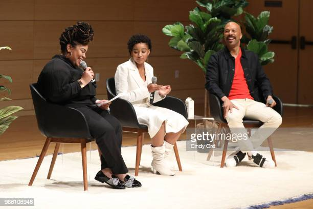 f297cef5e78 Angie Thomas Amandla Stenberg and Common speak onstage during Teen Vogue  Summit 2018  TurnUp Day