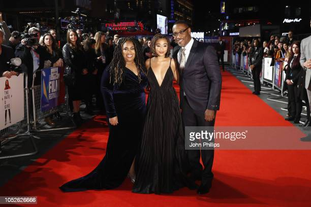 Angie Thomas Amandla Stenberg and George Tillman Jr attend the European Premiere of The Hate U Give during the 62nd BFI London Film Festival on...