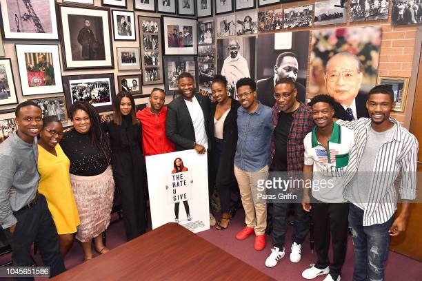 Angie Thomas Regina Hall Algee Smith George Tillman Jr and Lamar Johnson pose with student journalists at 'The Hate U Give' Atlanta University Center...