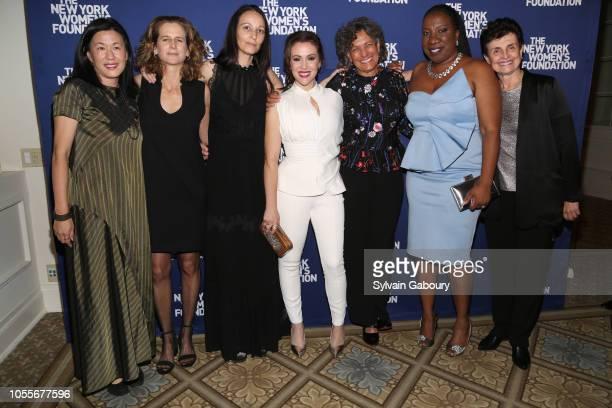 Angie Wang Adrienne Becker Rachel Gould Alyssa Milano Dr Mary Bassett Tarana Burke and Ana Oliveira attend The New York Women's Foundation Radical...