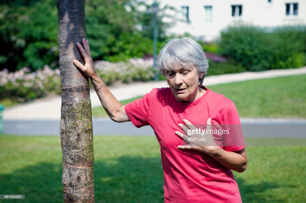 Angina pectoris, elderly person : Stock Photo