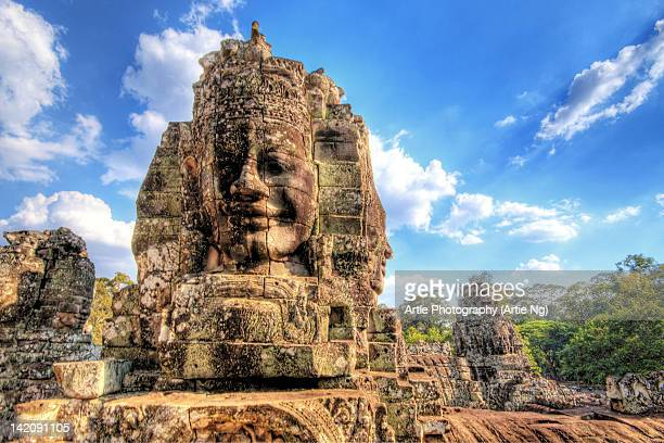 angkor thom, bayon temple, siem reap, cambodia - angkor stock photos and pictures