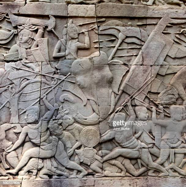 angkor thom, cambodia - bas relief stock pictures, royalty-free photos & images