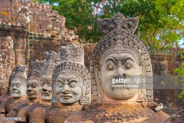 angkor thom south gate - khmer art stock photos and pictures