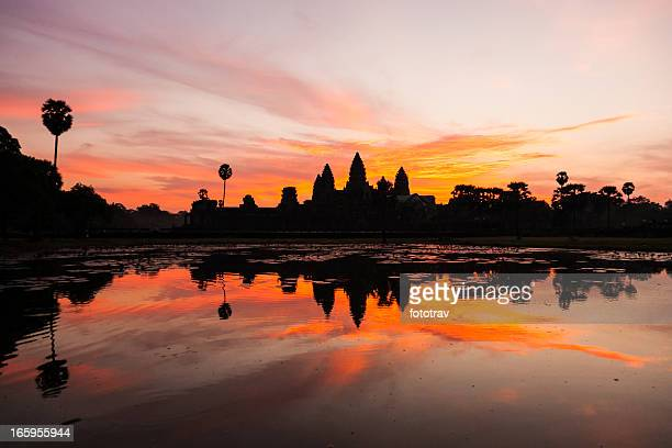 angkor wat at sunrise, cambodia - angkor stock photos and pictures