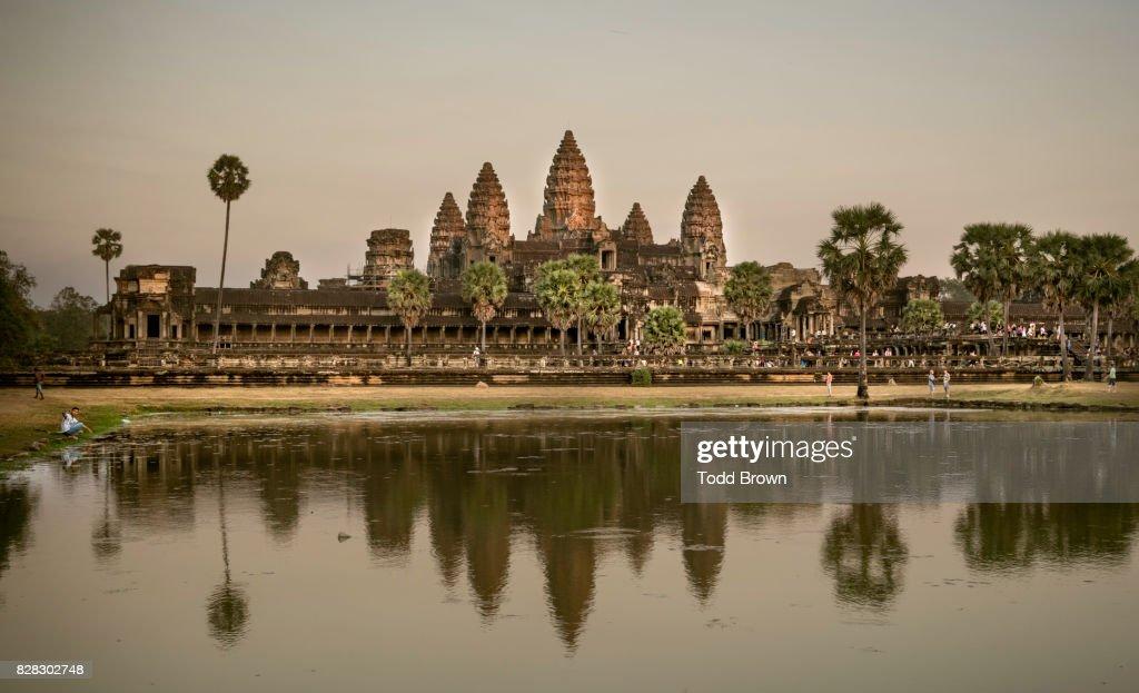 Angkor Wat at sunset : Stock Photo