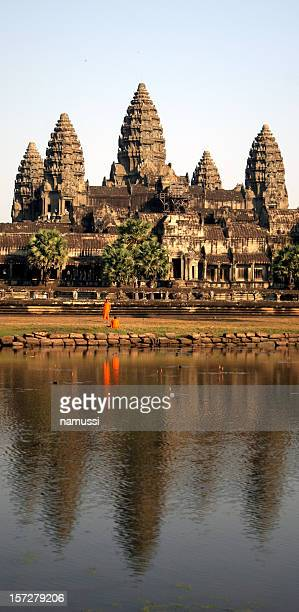 Angkor Wat, Cambodia: Monks and reflections