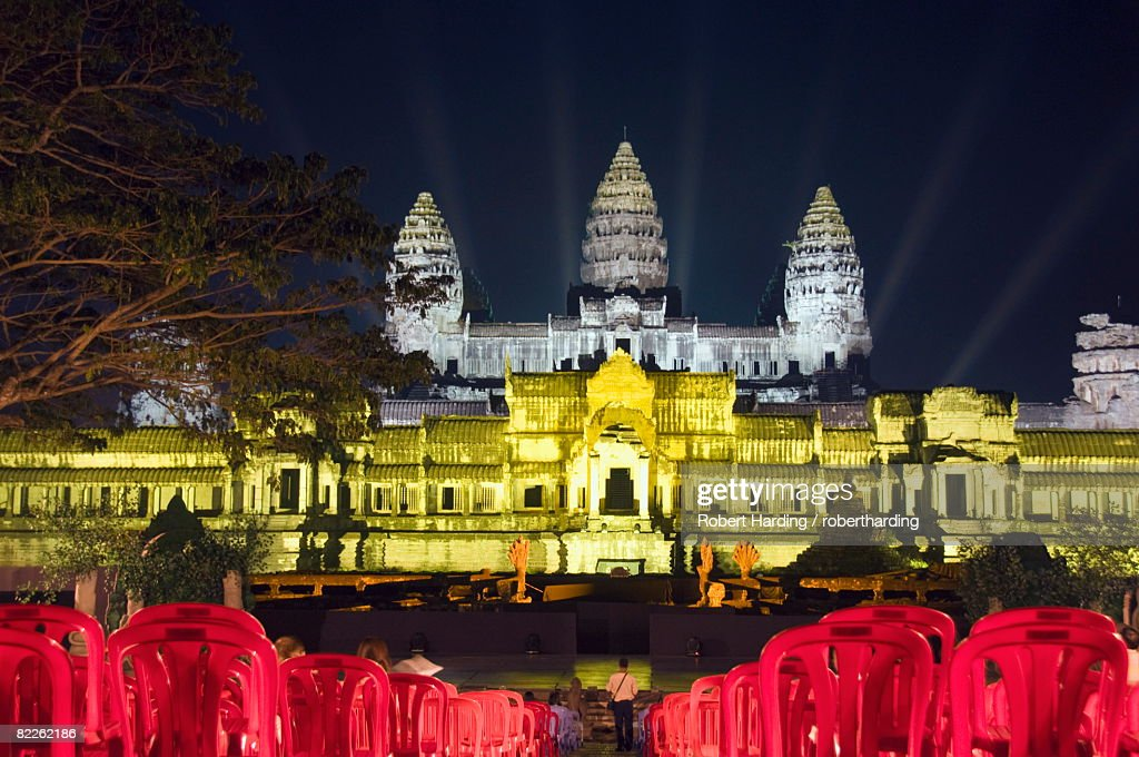 Angkor Wat Temple, UNESCO World Heritage Site, at night, lit for a special light show, Siem Reap, Cambodia, Indochina, Southeast Asia, Asia : Stock Photo
