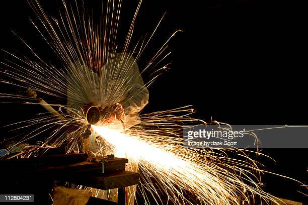 Angle grinder at night