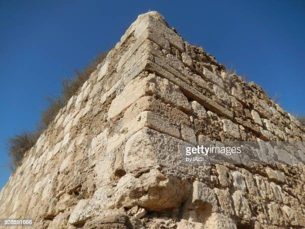 Angle view of the Crusader fort of Casal des Plains in Azor, Central israel