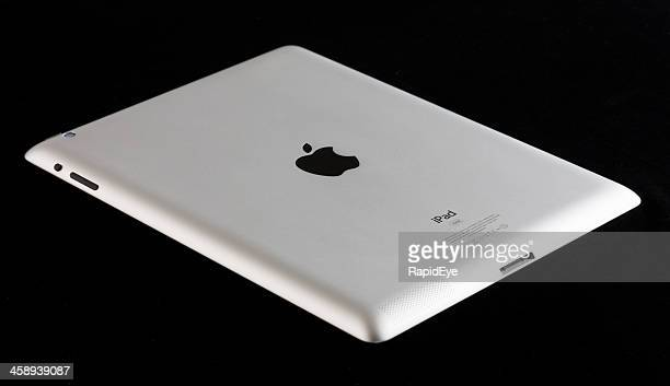Angled overhead view of brand-new Apple iPad underside
