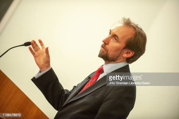 Angled, profile shot of Jordanian diplomat Zeid Raad Al Hussein, speaking from a podium during a Foreign Affairs Symposium at the Johns Hopkins...