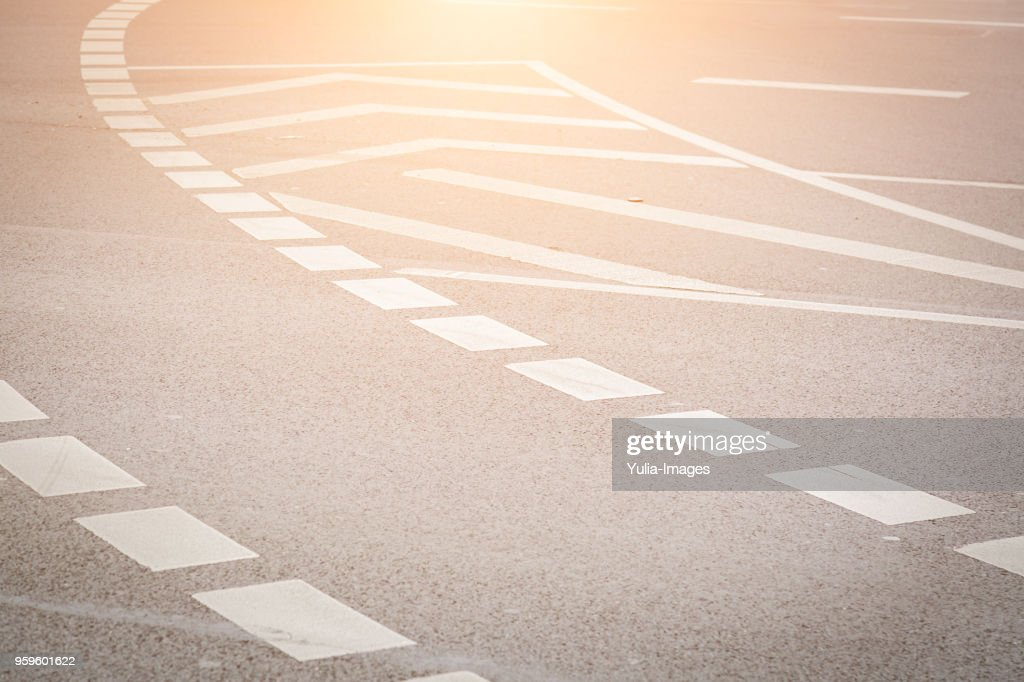 Angled view of empty wide street in Europe : Stock-Foto