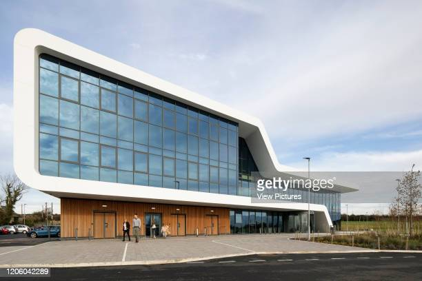 Angled view of front facade. Menai Science Parc, Bangor, United Kingdom. Architect: FaulknerBrowns, 2019.
