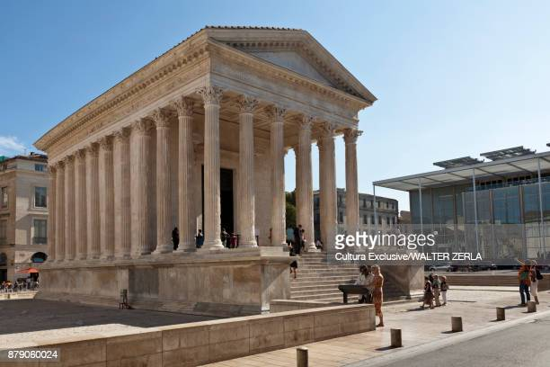 Angled view of Maison Carree, Nimes, Languedoc-Roussillon, France