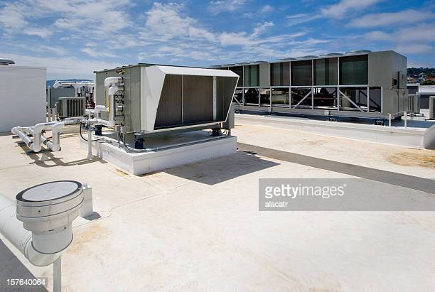 Angled View of rooftop HVAC system