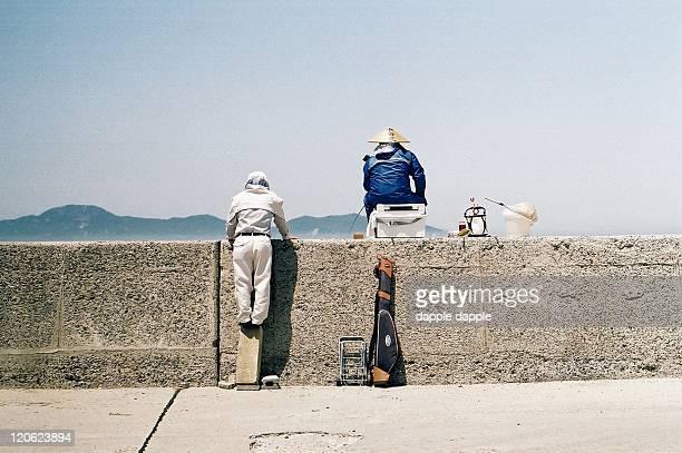 angler at midday - kagawa ストックフォトと画像