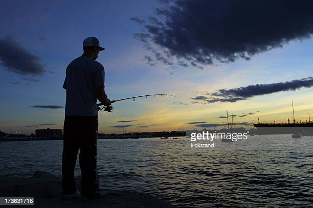 angler on the bay - portland maine stock pictures, royalty-free photos & images