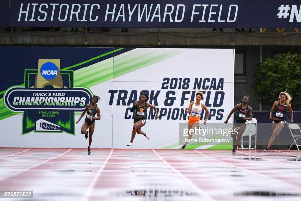 Anglerne Annelus of the USC Trojans races to a first place finish in the 200 meter dash during the Division I Women's Outdoor Track Field...