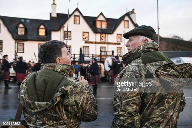 Anglers on the banks of the river Tay during the traditional opening of the river Tay Salmon Season on January 15 2018 in Kenmore Scotland The...