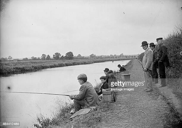 Anglers on the River Ancholme North Lincolnshire 1901 Men and boys on the bank of the Ancholme near Brigg North Lincolnshire They fish with rods and...