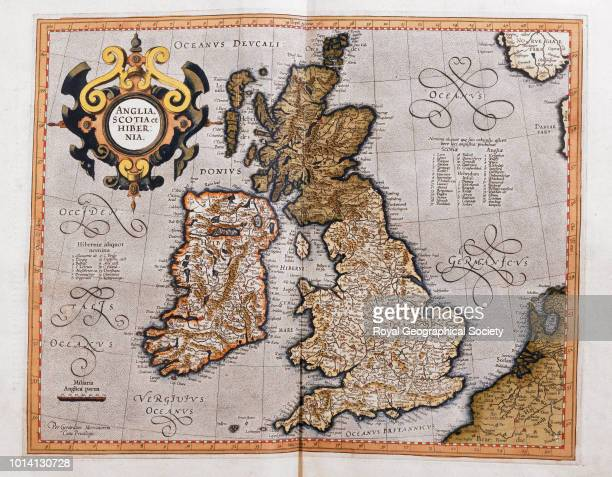 Anglia Scotia et Hibernia [England Scotland and Ireland] From 'Atlas sive Cosmographicae meditationes de fabrica mundi et fabricati figura' by Gerard...