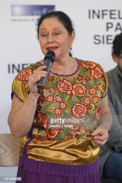 Angélica Aragón speaks during the first day of filming of 'Infelices Para Siempre' at Videocine on July 12 2019 in Mexico City Mexico