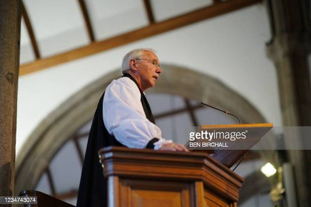 Anglican Bishop of Plymouth Nick McKinnel speaks during a civic service at Minister Church Of St Andrew in the Keyham area of Plymouth, southwest...