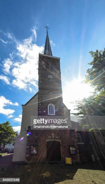 Anglican church facade inside historic Amsterdam beguinage, the Netherlands