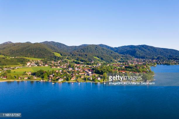 angling near bad wiessee, lake tegernsee, drone shot, upper bavaria, bavaria, germany - tegernsee stock pictures, royalty-free photos & images