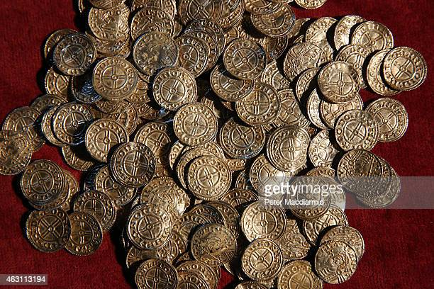 Anglo Saxon silver pennies are displayed at The British Museum on February 10 2015 in London England Rare coins and other finds are being shown as...