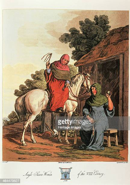 'Anglo Saxon Women of the VIII Century' 1814 A woman seated outside her hut and a woman on horseback