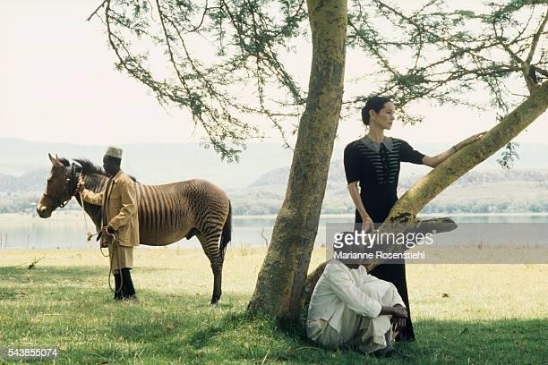 AngloAmerican actress Geraldine Chaplin on the set of White Mischief by British director screenwriter actor and producer Michael Radford