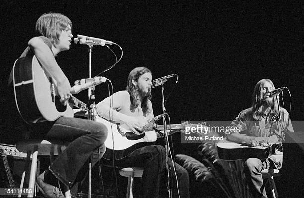 AngloAmerican folk rock band America at the Royal Festival Hall London 18th March 1972 Left to right Gerry Beckley Dan Peek and Dewey Bunnell