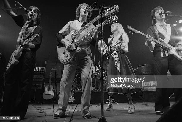 AngloAmerican rock group Wings performing at the Capitol Theatre in Aberdeen Scotland during the band's Wings Over the World tour 22nd September 1975...