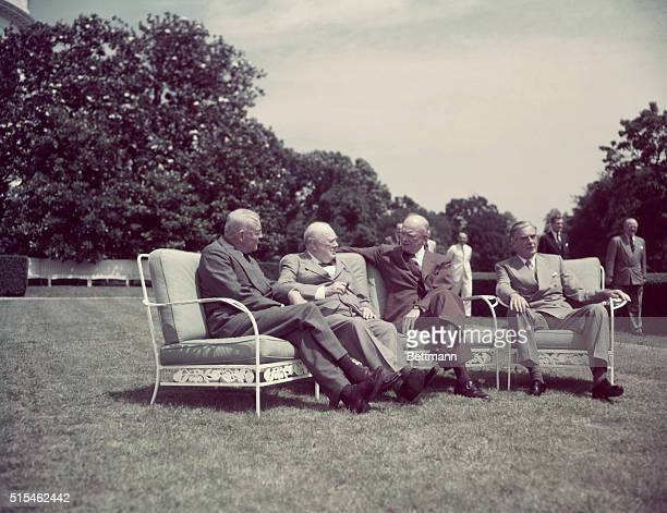 AngloAmerican Summit in Washington 1954Left to right Allan Dulles Sir Winston ChurchillPresEisenhower and Sir Anthony Eden