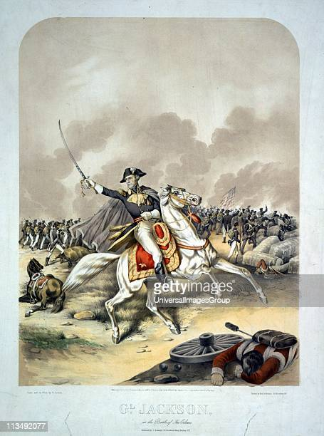 AngloAmerican War 18121815 General Andrew Jackson at the Battle of New Orleans 8 January 1815 mounted on white horse leading the American forces to...