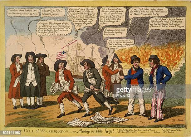 AngloAmerican War 18121815 James Madison Fourth President of the United States and possibly John Armstrong his Secretary of War fleeing Washington 24...