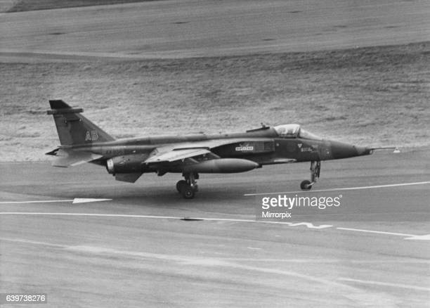 Anglo-French SEPECAT Jaguar, ground attack aircraft, lands at Newcastle Airport. The pilot, flight-lieutenant Michael Hetherington, arrived after...