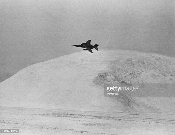 Anglo-French SEPECAT Jaguar, ground attack aircraft, on low level flying exercise over Northumberland. 19th December, 1981.