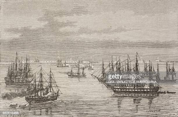 AngloFrench squad at the entrance to the Hai river China drawing by Lebreton from a sketch by the lieutenant of the Treves ship from Il Giro del...