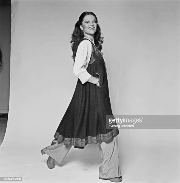 Anglo-Hungarian fashion designer and actress Edina Ronay, UK, 16th October 1972.