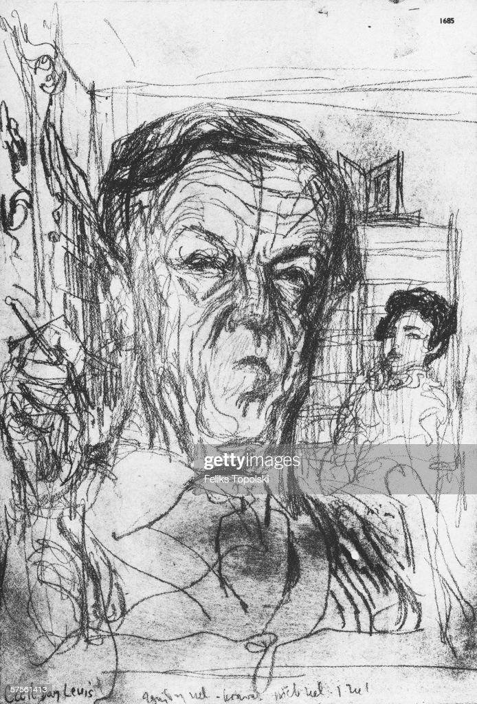 Anglo-Irish poet Sir Cecil Day Lewis (1904 - 1972). A sketch by Polish-born British expressionist Feliks Topolski from Topolski's Chronicle Vol X, pub. 1962.