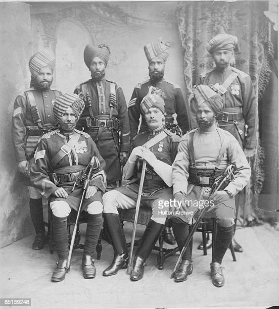 AngloIrish soldier Frederick Sleigh Roberts 1st Earl Roberts with a bodyguard of Indian soldiers circa 1875