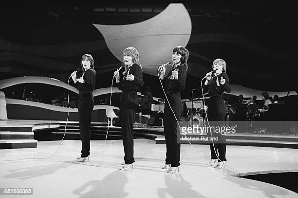 AngloIrish vocal group The Nolans performing on a TV show 1981 Left to right Coleen Nolan Linda Nolan Maureen Nolan and Bernie Nolan