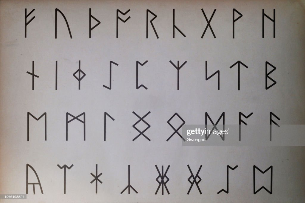 Anglo-Saxon runes printed on paper : Stock Photo
