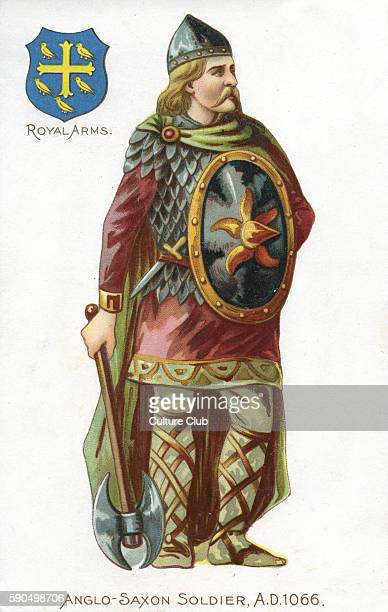 AngloSaxon soldier 1066 Soldier in dress at the time of the Battle of Hastings wearing a belted chainmail top over a tunic with a cloak and a pointed...