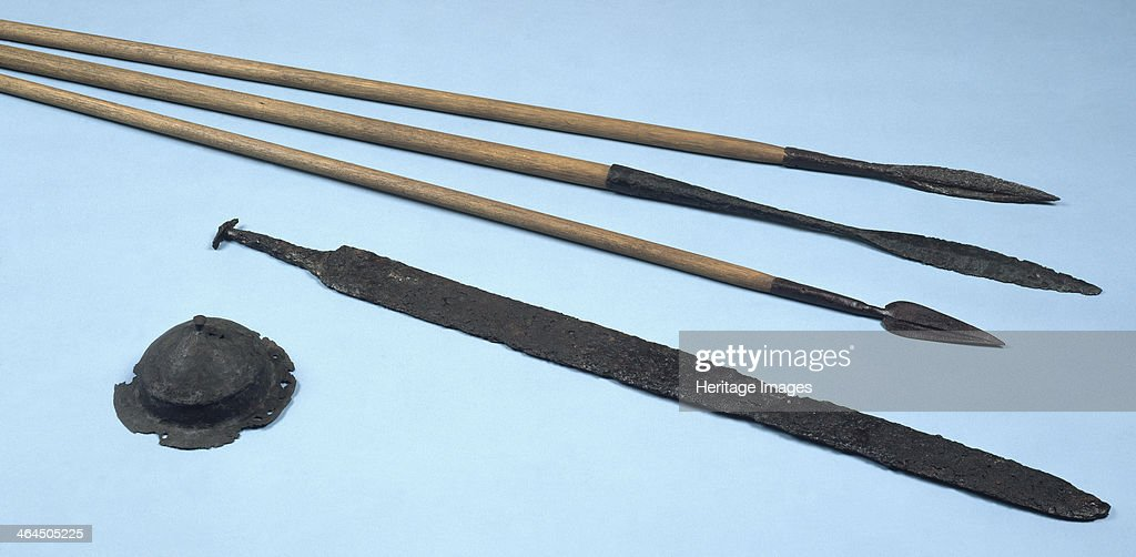 Anglo-Saxon weapons  Spears, a sword and an iron shield-boss