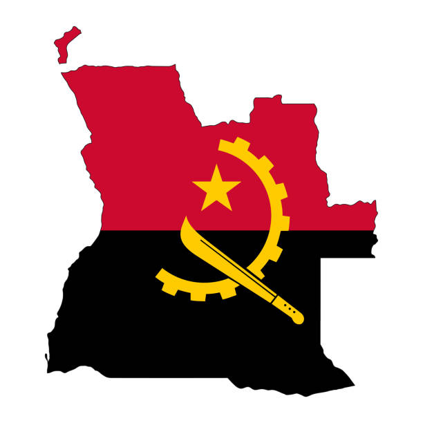 Angola map silhouette with flag isolated on white background