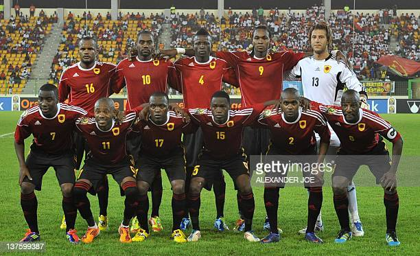 Angola national football team players pose before the Africa Cup of Nations Group B opening match between Ivory Coast and Sudan on January 22 at the...